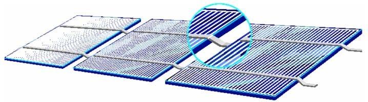 Interligação em série de células cristalinas solares